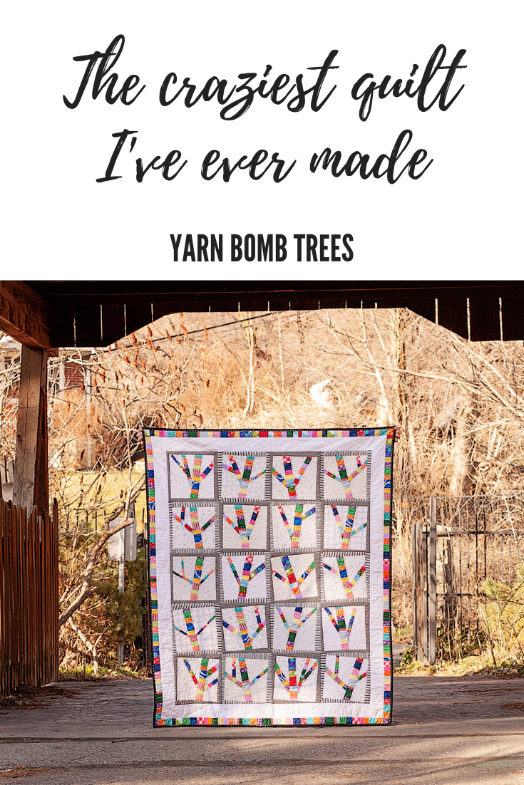 Yarn Bomb Trees Quilt by ALC Creates